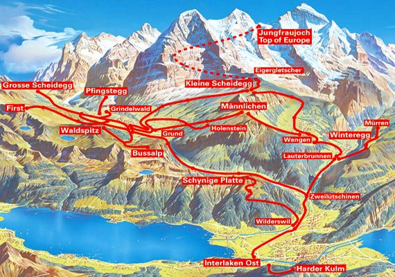 Validity Map for: Jungfrau Unlimited Railways Pass